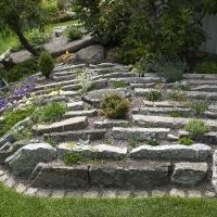 1. Vise et alpint bed i haven herunder trug